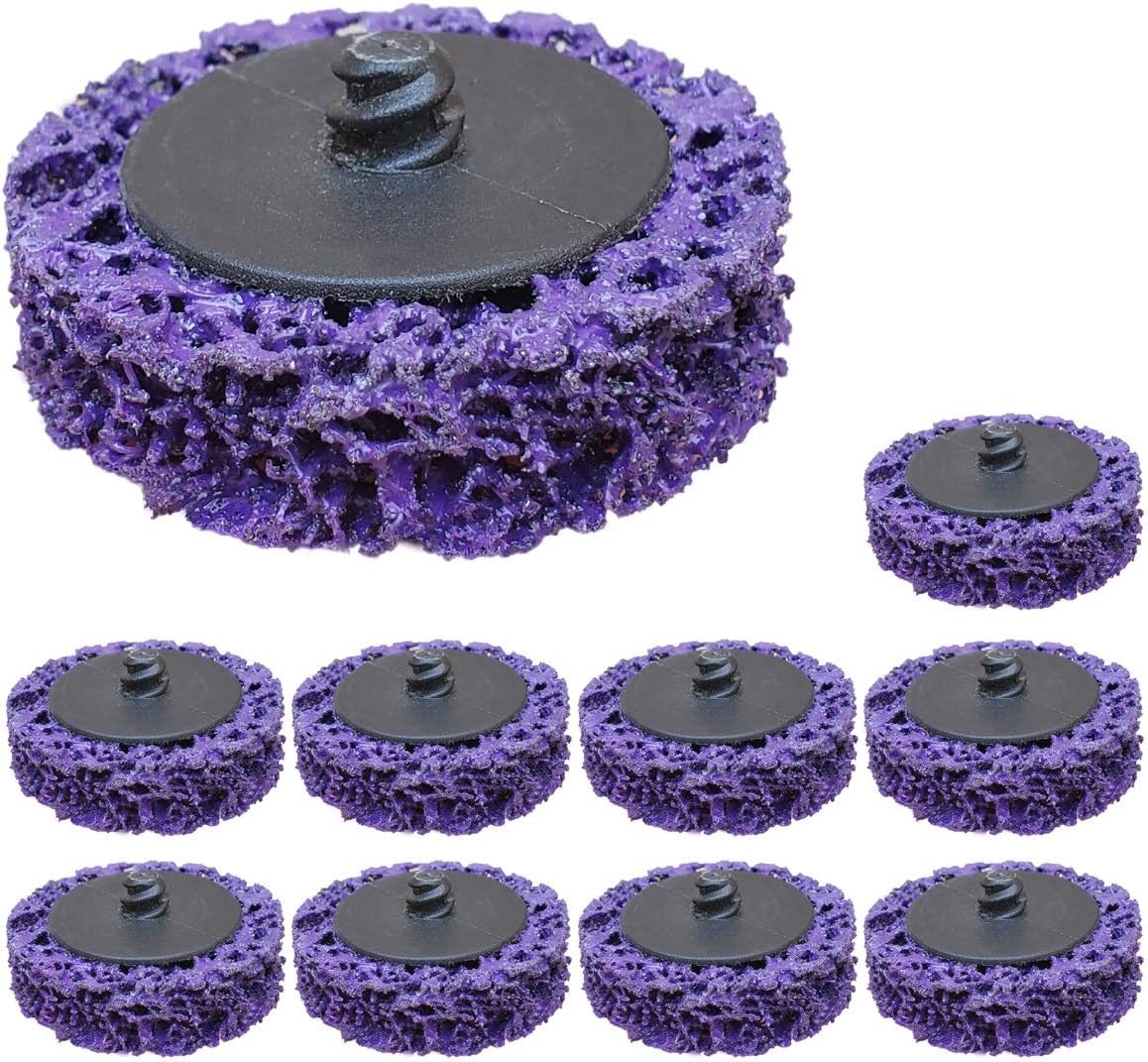 "10 Pcs 2"" Purple Extra Coarse Paint and Rust Stripper Brush, Quick Change Strip & Clean Discs for Metal Wood Fiberglass"