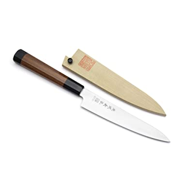 Yoshihiro Inox Stain-resistant Aus-10 Steel Ice Hardened Petty Utility knife Shitan Handle 6  (150mm)