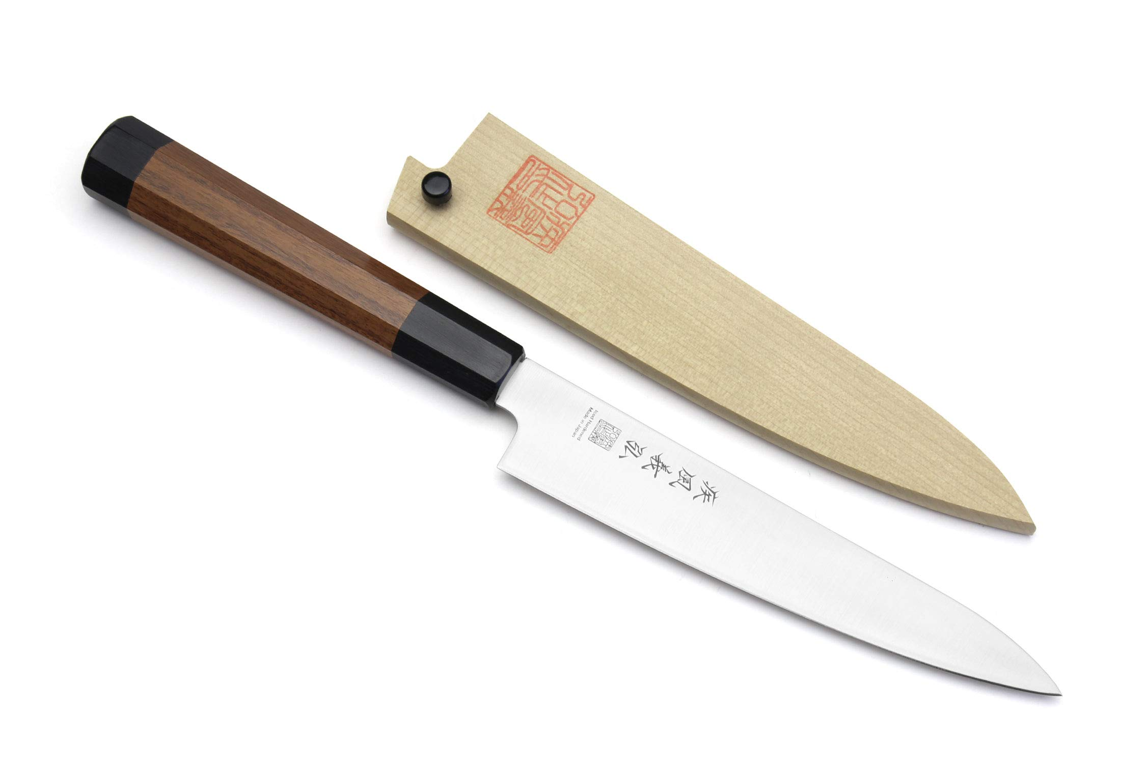 Yoshihiro Inox Stain-resistant Aus-10 Steel Ice Hardened Petty Utility knife Shitan Handle 6'' (150mm)