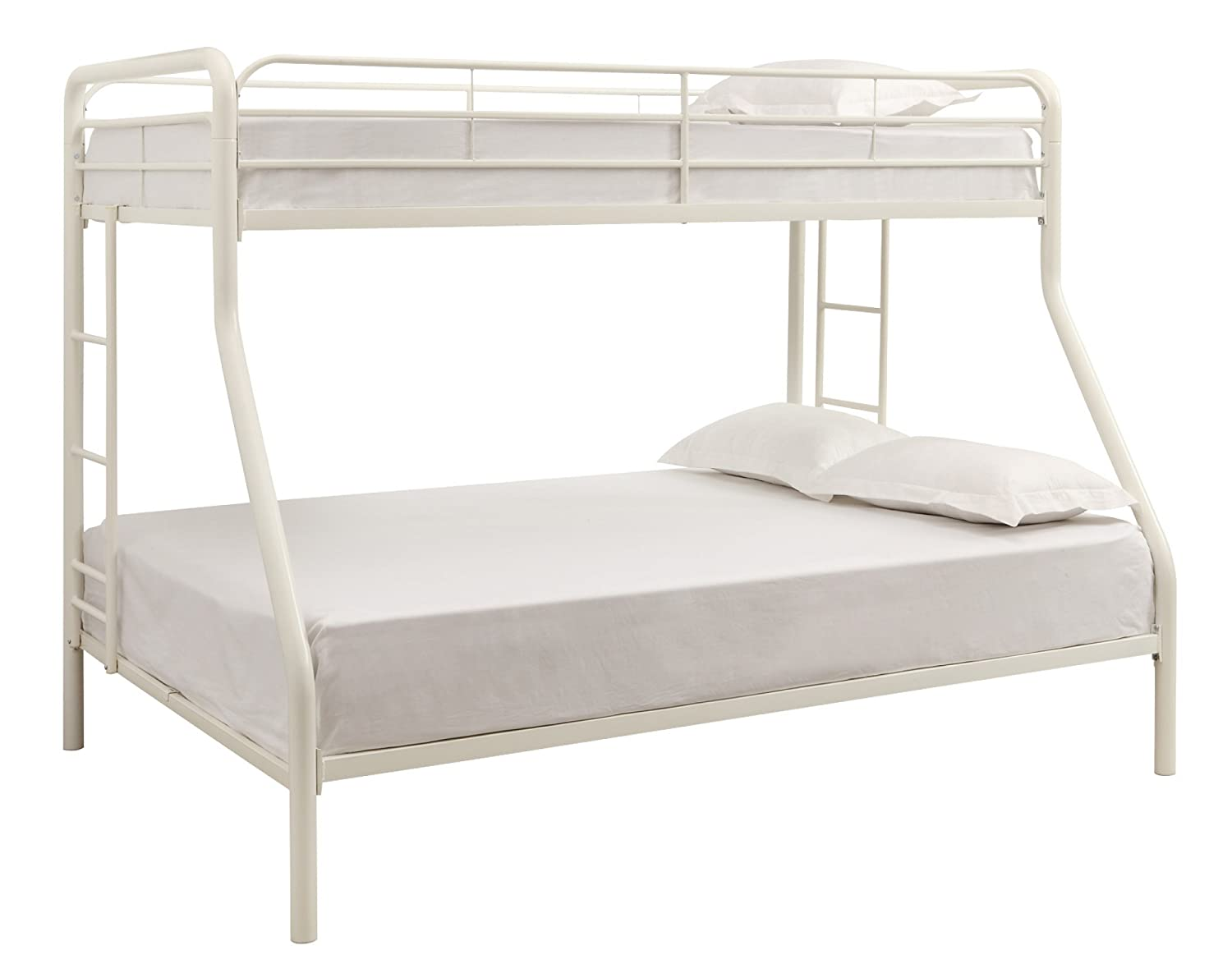 Amazon com  DHP Twin Over Full Bunk Bed with Metal Frame and Ladder   Space Saving Design  White  Kitchen   Dining. Amazon com  DHP Twin Over Full Bunk Bed with Metal Frame and
