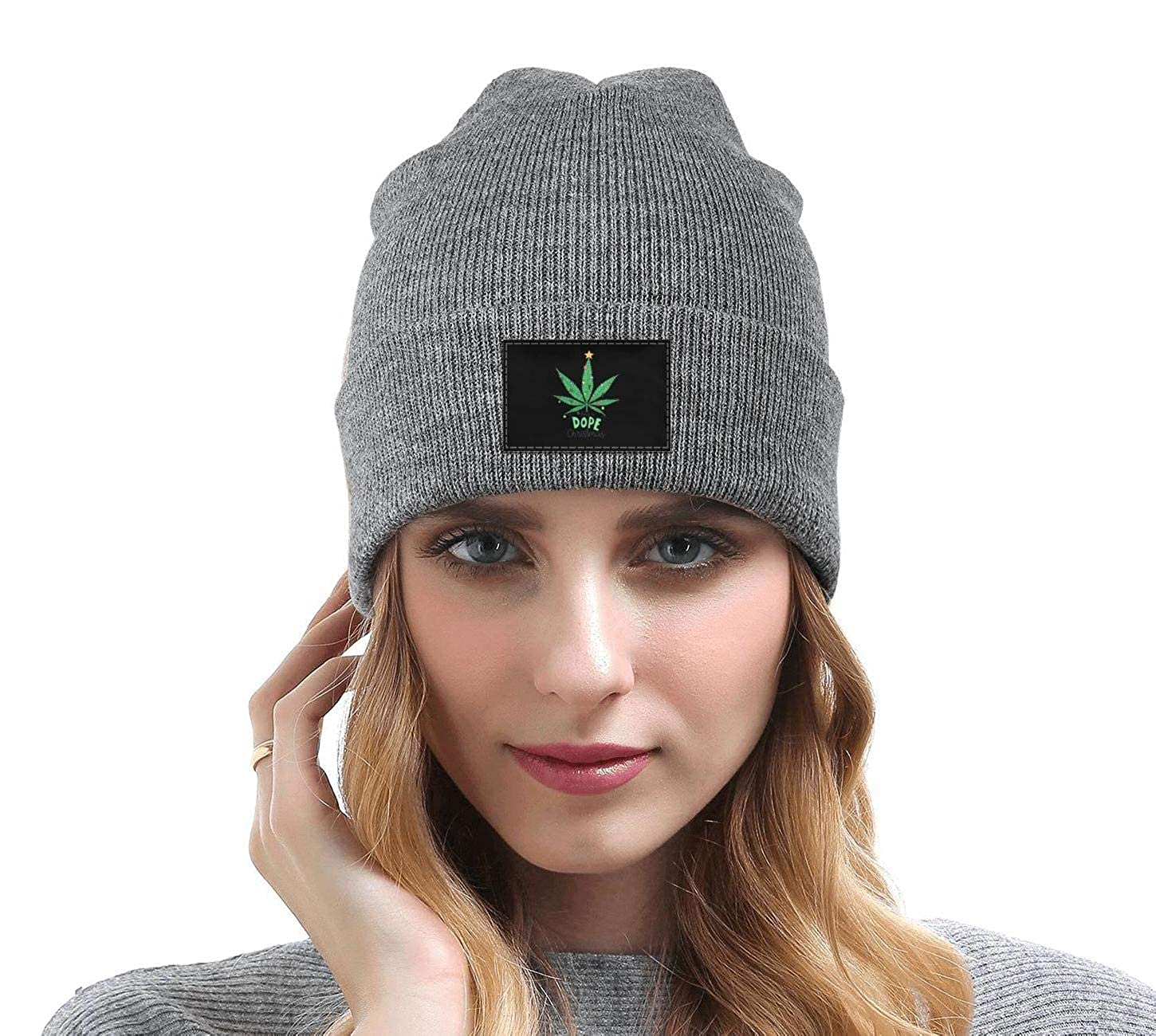Unisex Marijuana Leaf Have a Dope Christmas Knit Cap Winter Knit Caps for Men Womens