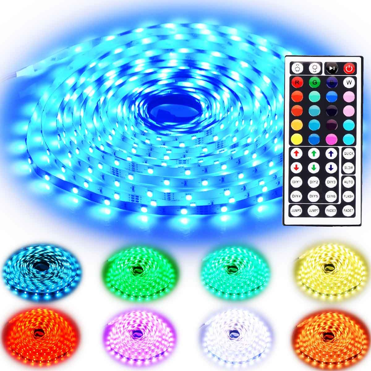 Rxment RGB LED Strip Lights with Remote 10M 32.8 Ft 5050 RGB 300LEDs Full Kit, Blue LED Light Strip, LED Lights Strip, LED Night Light, LED Christmas Lights, LED Rope Lights, LED Tape Light