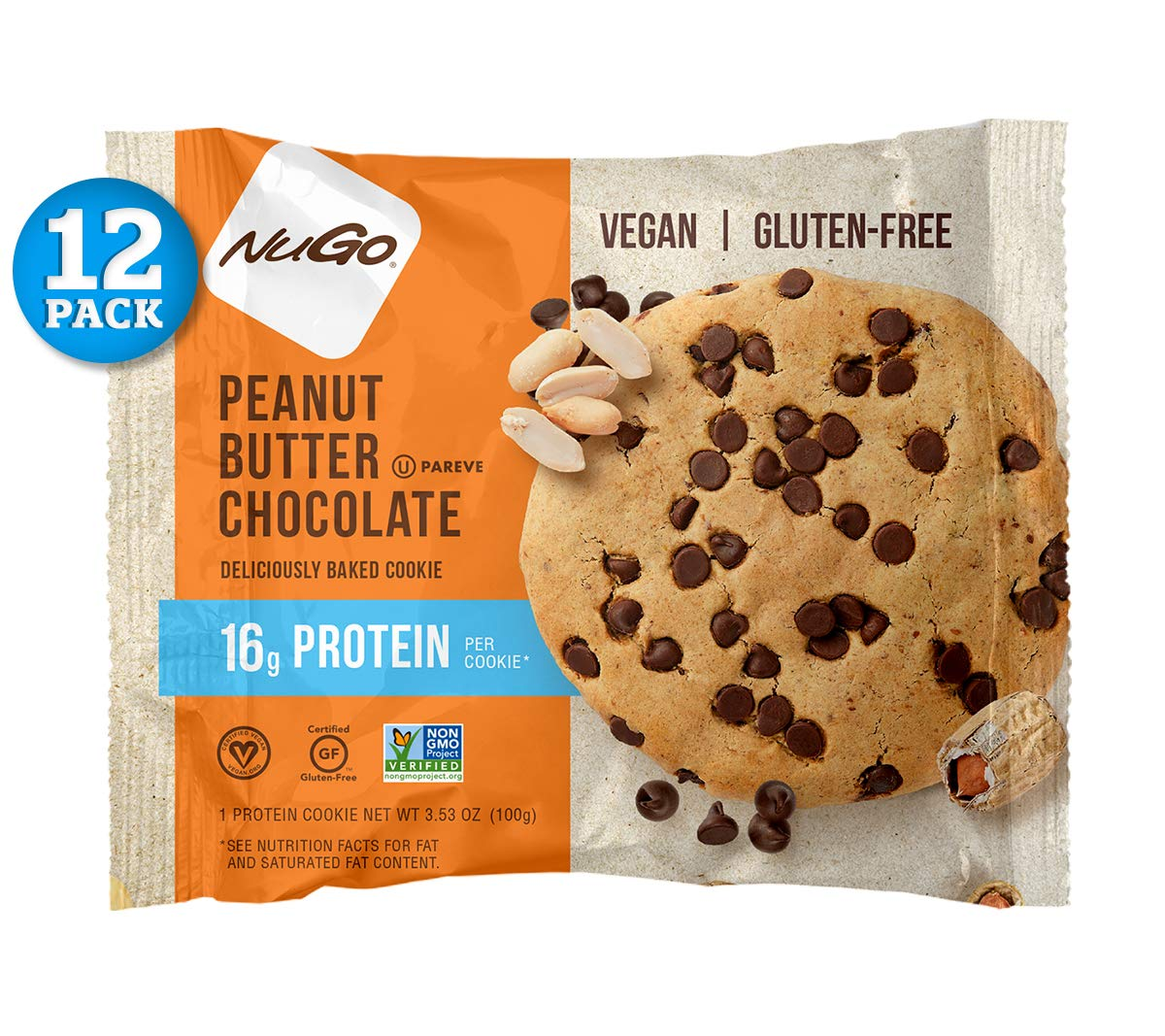 NuGo Protein Cookie, Peanut Butter Chocolate, 16g Vegan Protein, Gluten Free, Soy Free, 12 Count by NuGo