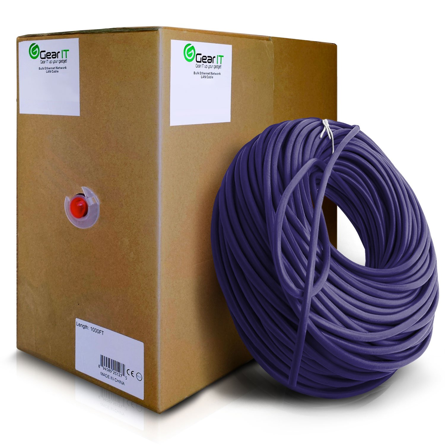 GearIT Cat5e Ethernet Cable Bulk 1000 Feet - Cat 5e 350Mhz 24AWG Full Copper Wire UTP Pull Box - In-Wall Rated (CM) Stranded Cat5e, Purple by GearIT