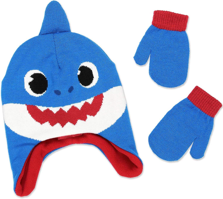 Baby Shark Toddler Boys Girls Winter Beanie Hat and Mittens Set