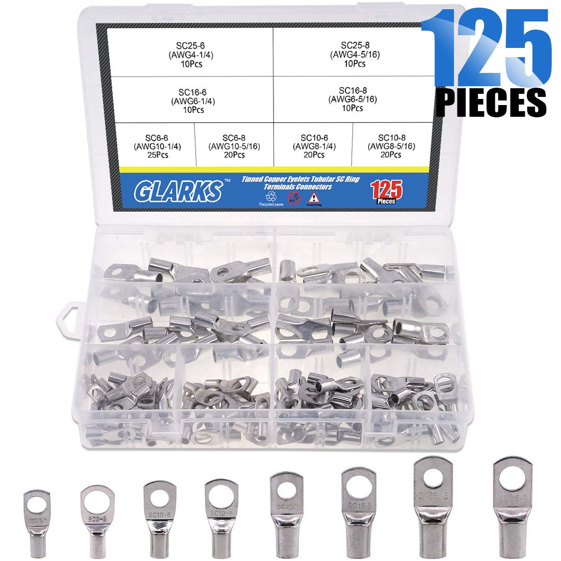 Glarks 125Pcs Marine Grade UL Approved Heavy Duty Tinned Copper Wire Lugs Battery Cable Ends Eyelets SC Ring Terminal Connectors Assortment Kit