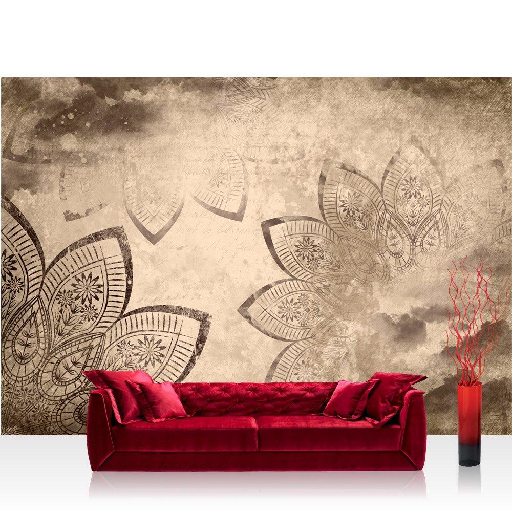 Vlies Fototapete 416x254cm PREMIUM PLUS Wand Foto Tapete Wand Bild Vliestapete - Illustrationen Tapete Mandala Illustration Blume beige - no. 1740