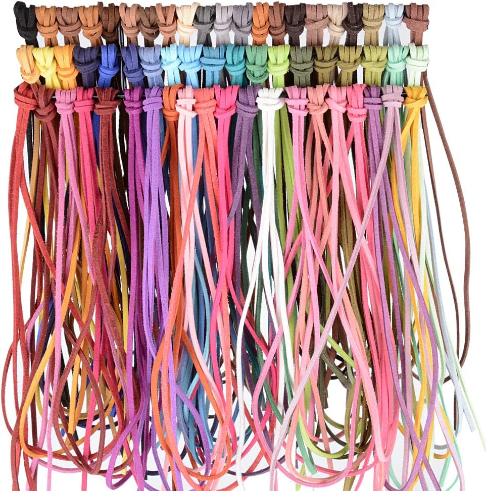 MEJOSER 60m 3mm 60 Color PU Leather Cord Suede Cord String Artificial Leather Cord Cord Thread Leather Cord Jewelry Bracelet Necklace Keychain Crafts DIY Craft Homemade