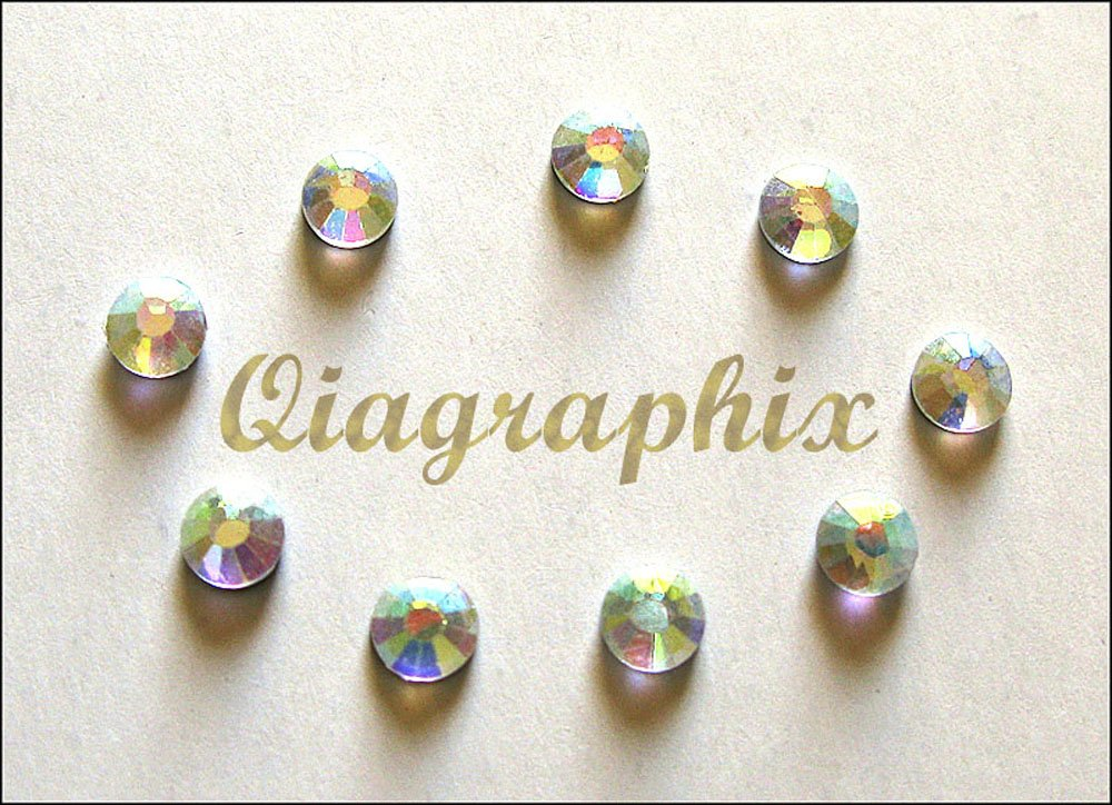 Qiagraphix 2 x 1440 1440 Pcs DMC Iron On Hotfix Crystal Rhinestones Clear AB SS16, 3.8 4.0mm SS16ABa   B0175D6CXS