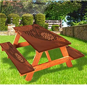 Earth Tones Picnic Table & Benches Cover,Artistic Composition with Floral Intricacy Folk Details 72