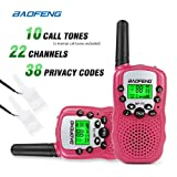 Baofeng T-3 Handheld Walkie Talkies For Kids & Adults, UHF 462.5625 - 467.7250MHz FRS/GMRS Two-Way Radio Transceiver For Children & Youth, 2 Waterproof Cases Included, 1 Pair (2 Pcs) (Pink)