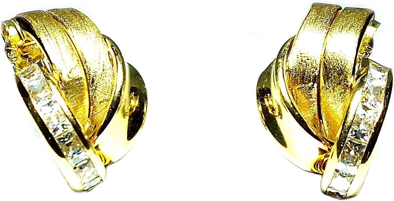 Pendientes oro18k, mujer, modelo bandas de oro y banda de piedras con cierre de presión de alta calidad