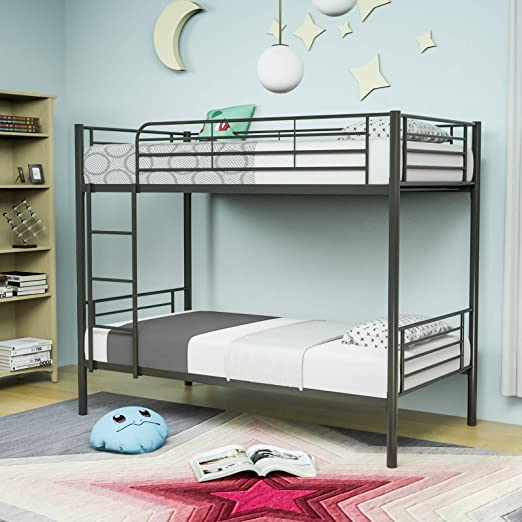 Twin over Twin Bunk Bed Metal Frame Bedroom Ladder for Kid Adult Children Silver