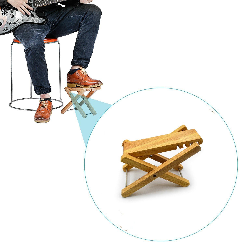 Zepthus® solide Qualité. Dessin Guitare en bois avec repose-pieds Repose-pieds avec 4positions facilement réglable en hauteur acoustique ou électrique joueurs ZP-WOODPEDAL01
