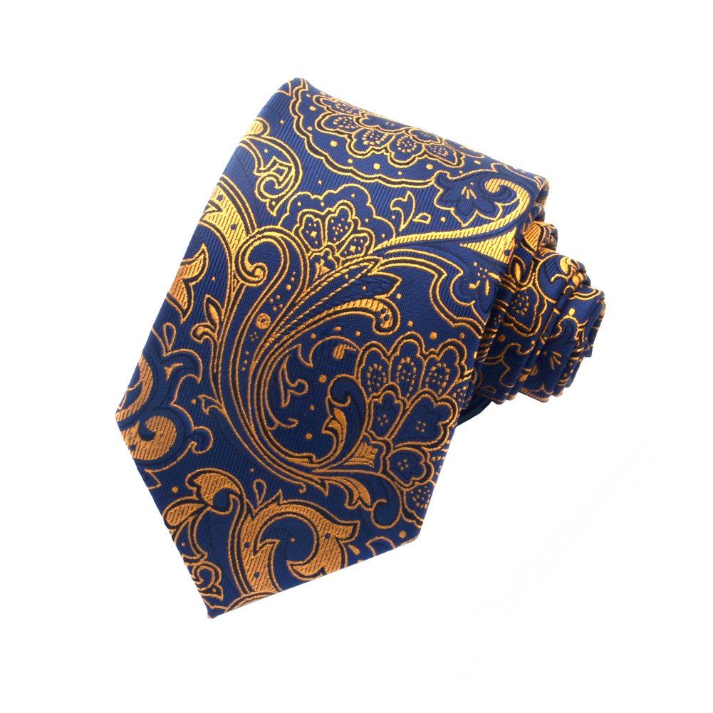 Paisley Ties for Men Jacquard Woven Necktie FXICAI Business Fashion Classic Casual Tie Bar Clip Set (Golden) by FXICAI (Image #1)