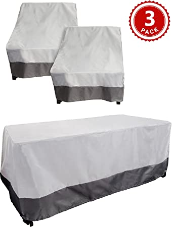 Reusable Revolution 3 Piece Outdoor Deep Chair and Table Cover Set - Patio Furniture Weather Protection Cover Set by (Grey w/Dark Grey Trim)