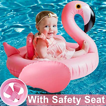 d48d04ea35 Infant Pool Float-Flamingo Baby Inflatable Swim Ring with Safety Seat Boat  Swimming Baby Spring