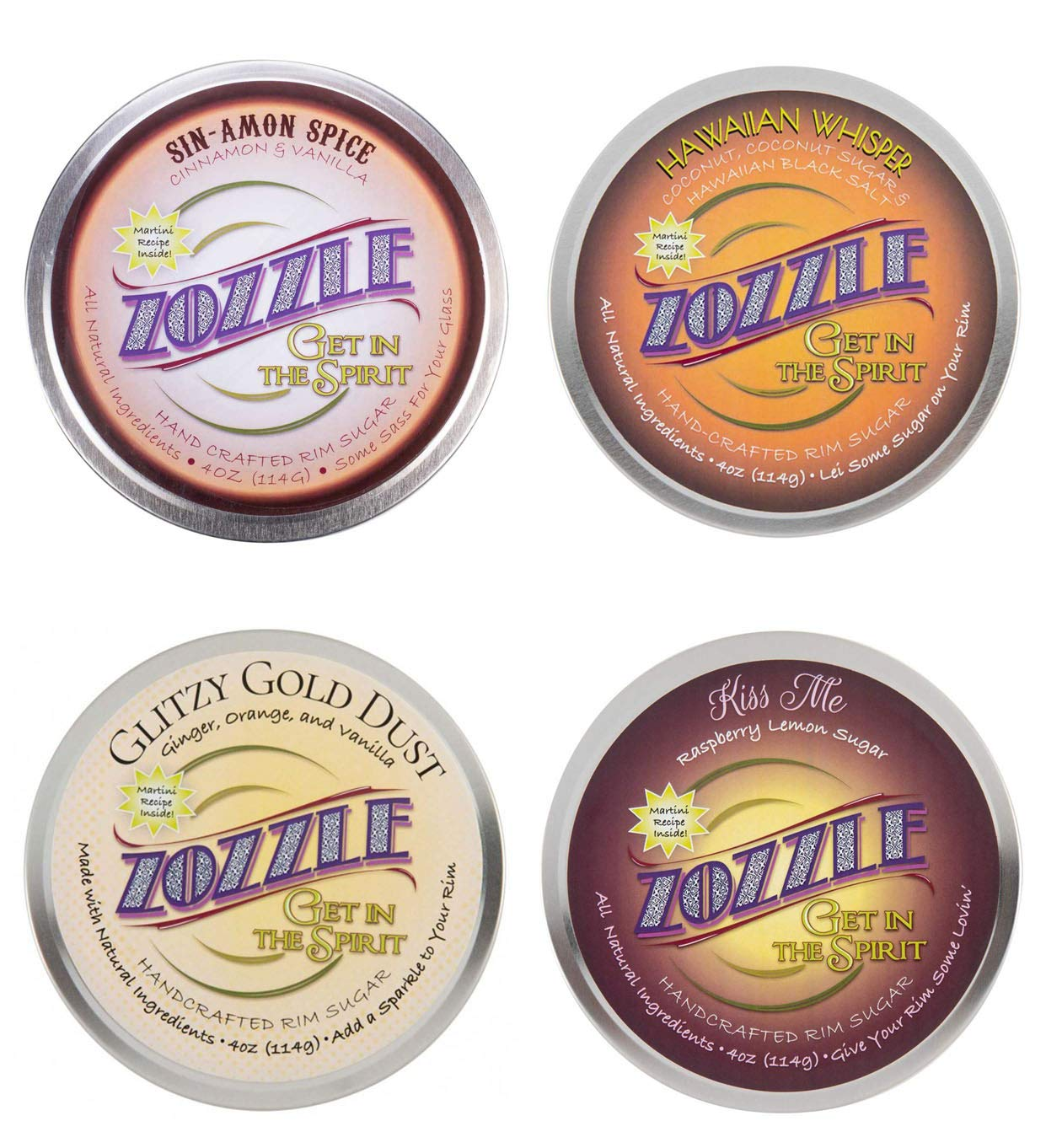 Zozzle Handcrafted Rimming Sugar 4 oz Variety 4-Pack - Ginger Orange, Coconut, Raspberry Lemon, Cinnamon by Zozzle