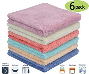 Microfiber Cleaning Cloth Dust Rag Dust Cloths Cleaning Towels Multi-Functional Washable Reusable Household Cleaning Cloths for House Furniture Table Kitchen Dish Window Glasses (6 Colors)12X12in