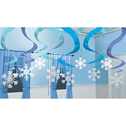 15 x estacada nieve y hielo frío azul hielo nieve tiras de copo de nieve Navidad decoración de fiesta de cumpleaños