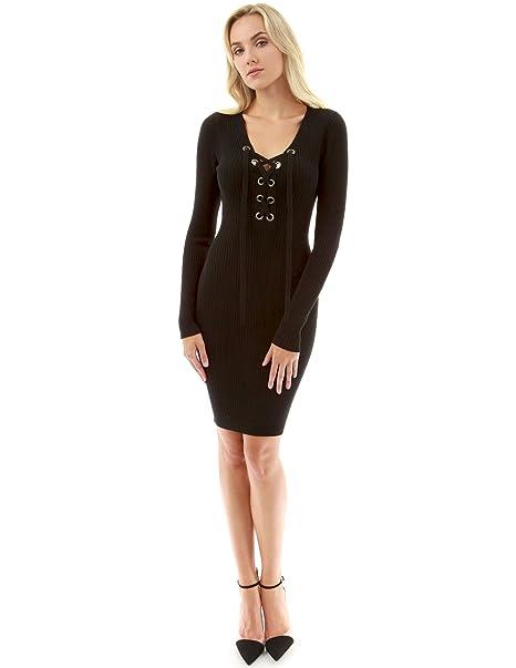 Pattyboutik Women Lace Up Ribbed Sweater Dress