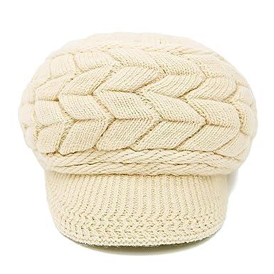 7ee79d1fb11 ... Ladies Beret Cap Wool Knit Visor Beanie Newsboy Cap Baker Boy Visor  Warm Fleece Lined Winter Beanie Hat (Beige)(Size  One Size)  Amazon.co.uk   Clothing