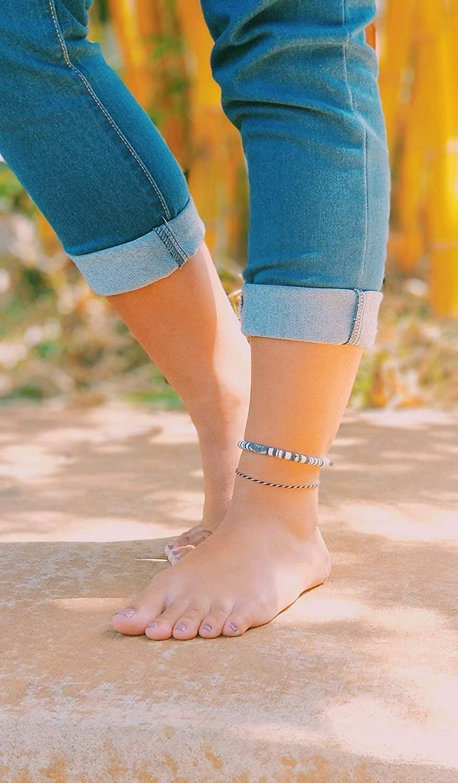 3x Anklets for women Ankle Bracelet Surfer Anklet beach summer indian boho adjustable girls Foot chain ankle Handmade white black