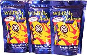 WildSide Salmon - Wild Alaskan Salmon Freeze Dried Cat Treats - Healthy and Organic Cat Food - 3 Ounces (3 Pack)