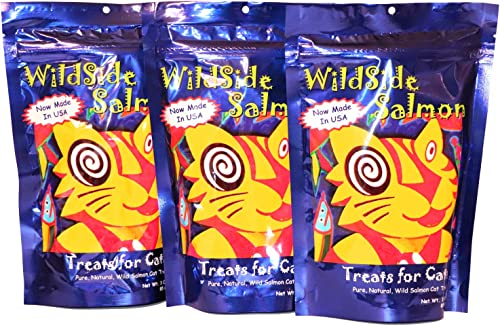 WildSide Salmon – Wild Alaskan Salmon Freeze Dried Cat Treats – Healthy and Organic Cat Food – 3 Ounces 3 Pack