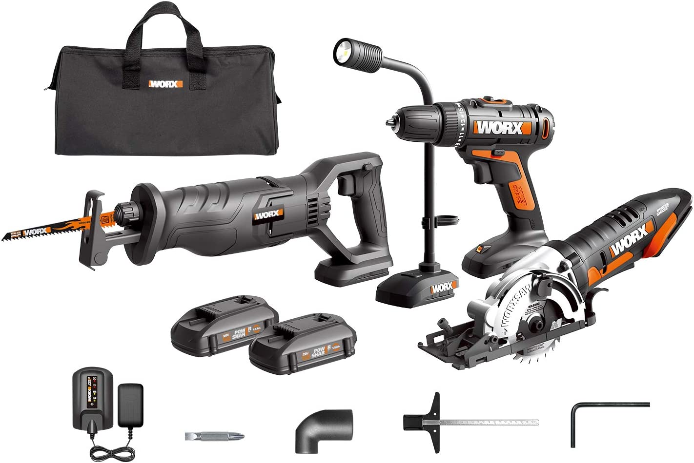 WORX WX943L 20V Cordles Drill Driver WX101L, 20V Lithium Circular Worxsaw WX523L, 20V Cordless Reciprocating Saw WX500L and 20V Flexible LED light WX028L Combo Kit