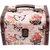 WaaHome Butterfly Wooden Treasure Chest Decorative Treasure Jewelry Keepsakes Box for Girls Women GiftsPink (7.1''X5.6''X4.7'')