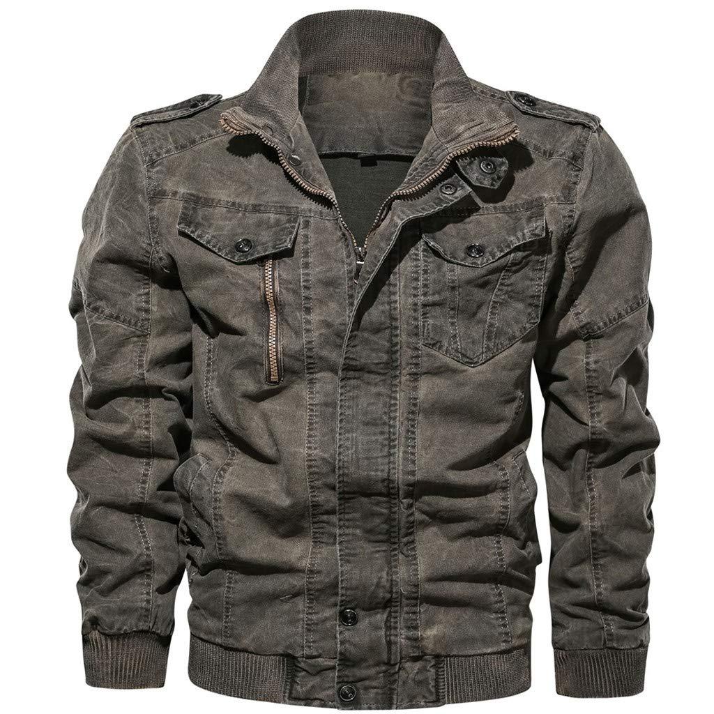 Botrong Men's Autumn Winter Vintage Plus Size Washing Jacket Coat (Gray,XXL) by Botrong