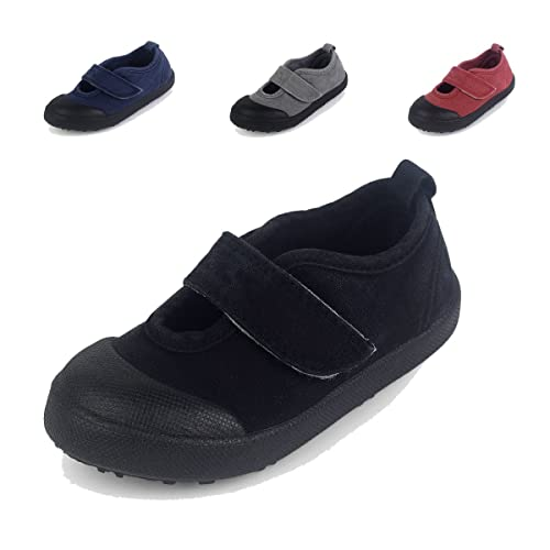 157cb2404b82 BEHERO Toddler Boys Girls Slip-On Casual Canvas Shoes with Easy Close Strap  Sneaker Black