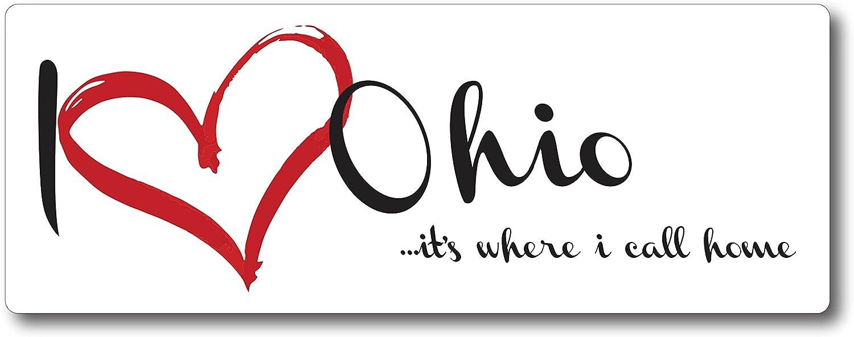 I Love (Heart) Ohio, It's Where I Call Home Car Magnet US State Flag Refrigerator Locker SUV Heavy Duty Waterproof