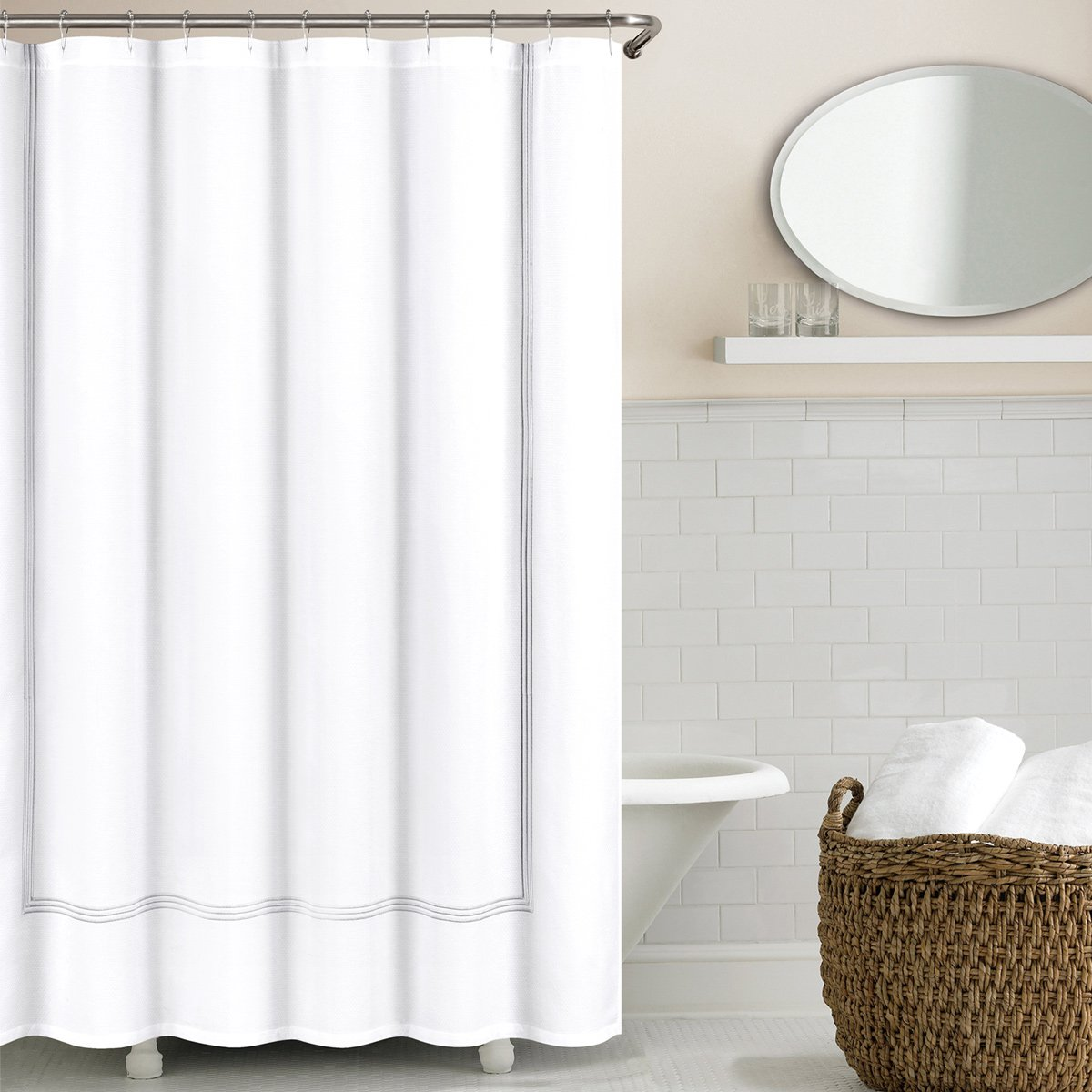 Echelon Home Echelon Hotel Collection Three Line Shower Curtain, Light Grey