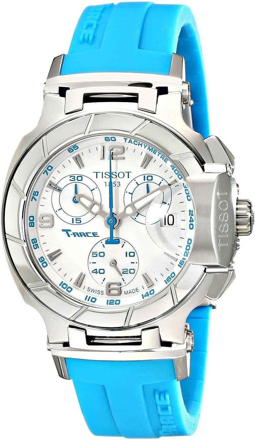 Mujer Reloj Tissot t0482171701702T-Race T-Race analógico cronógrafo Blanco y BLU
