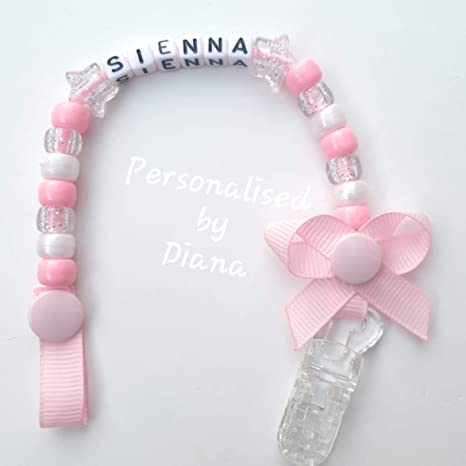 Personalised dummy clips with name pacifier soother made to your specification