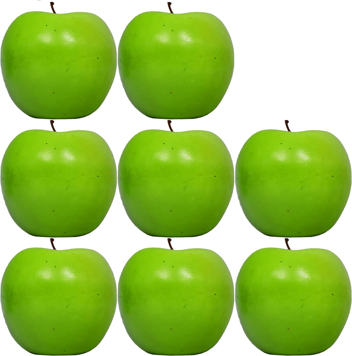 "Set of 8 Decorative Life Size Faux Green Apples - Great for Decorating your Home, Creating a Store Display, and Photo Props - Realistically Colored and Sized Fruit - Measures 2.5"" x 2.75(Green Apples)"
