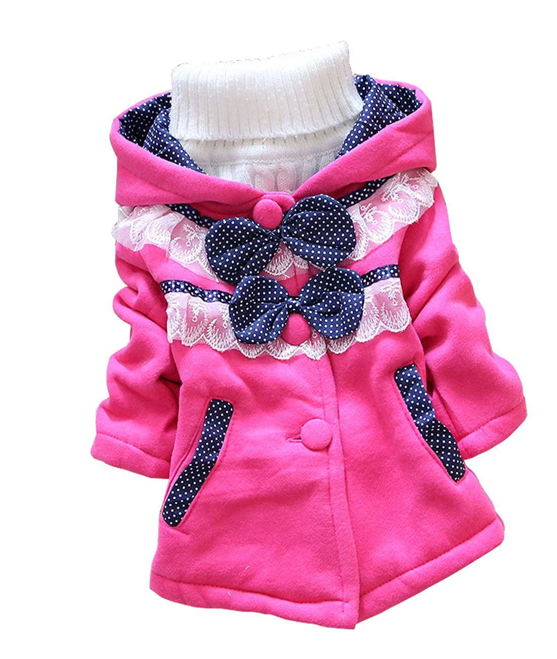 ACEFAST INC Kids Baby Girls Coat Hoodie Sweater Bowknot Fleece Children Clothes