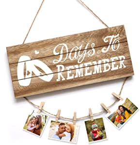 Day's to Remember Rustic Wooden Wall Art Signs, Home Wall Decor Sign, Hanging Wooden Plaque for Bedroom Living Room Office Decor - 13.8 x 5.8 inch, with Clips and Twines for Picture Hanging