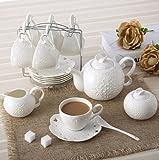 European Bone China Carved White Ceramic 15 Pieces Coffee Set