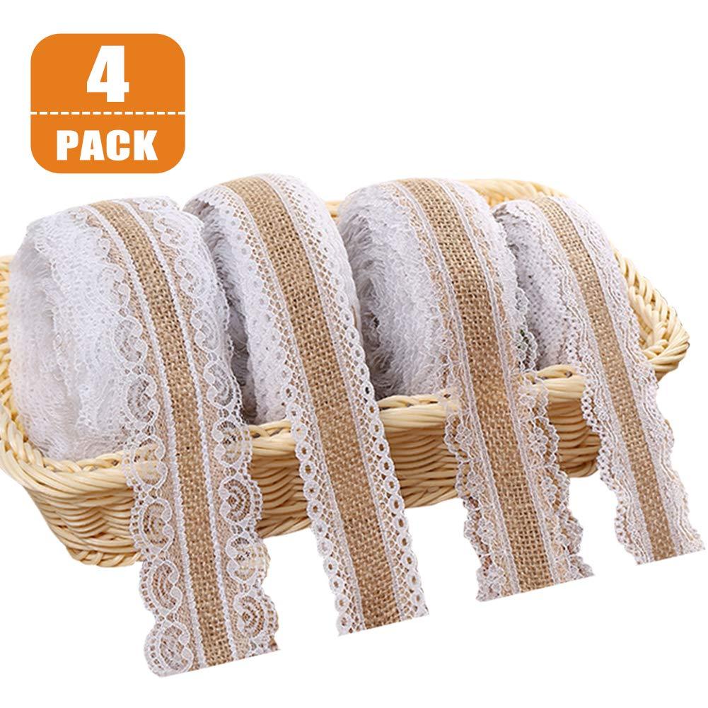 rollo de cinta de arpillera natural con encaje para bodas Navidad manualidades regalos Cinta de encaje de arpillera blanca 4 pcs, 2 m puntillas de encaje vintage y cinta de arpillera en un rollo