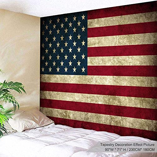 PROCIDA American Flag Tapestry Wall Hanging Vintage Retro Stars and Stripes USA Flag Tapestry Wall Tapestry for Dorm Bedroom Living Room College, Nail Included, 90 W x 71 L, USA Flag