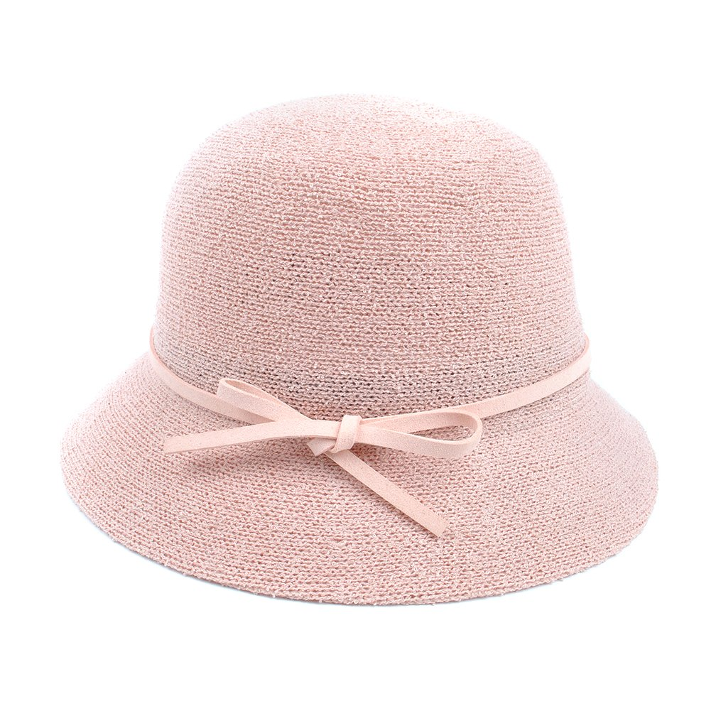 Women's Cloche Hat with Leather Band Bow Tie Bucket Hat Adjustable (Pink)
