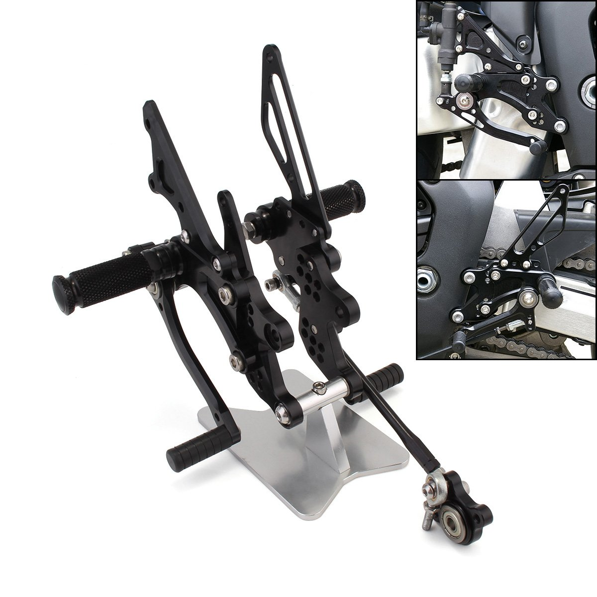 NEVERLAND Black Motorcycle CNC Racing Footpegs Rearsets Rear Set for Honda CBR1000RR 2004 2005 2006 2007