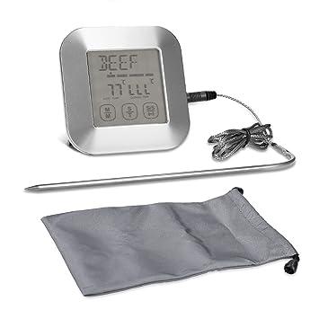 kwmobile Termómetro de cocina digital - Termómetro de horno con pantalla LCD táctil - Pincho acero