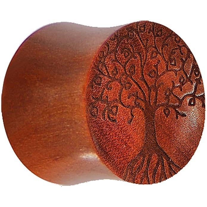 1,27 cm orgánico de árbol de la vida de la silla de montar Sawo enchufe: Body Candy: Amazon.es: Joyería