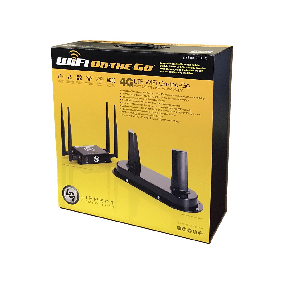 Lippert Components 722050 WiFi On-The-Go 4G LTE Mobile Broadband Network Kit with Direct Link Technology