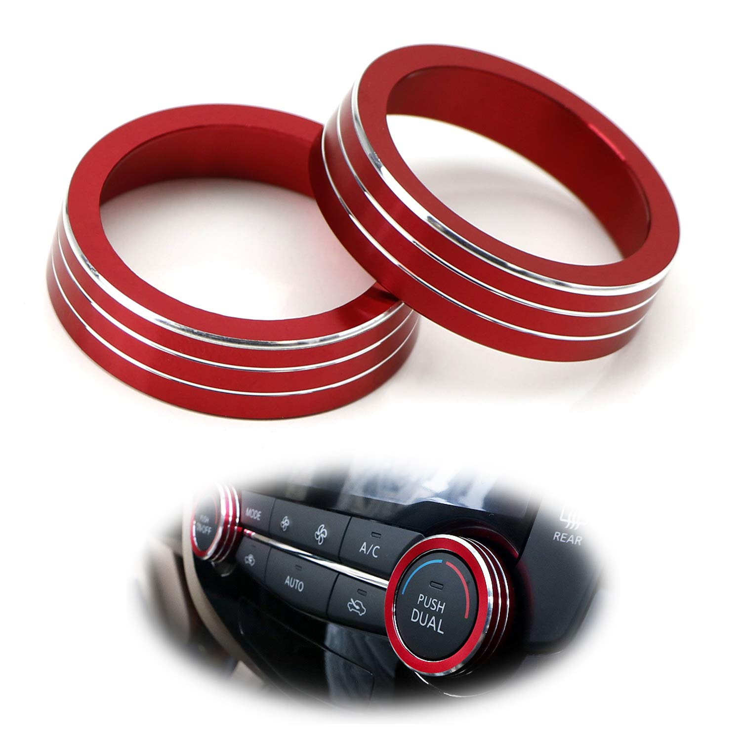 X-Trail iJDMTOY 2pcs Red Anodized Aluminum AC Climate Control Ring Knob Covers For 2014-up Nissan Rogue