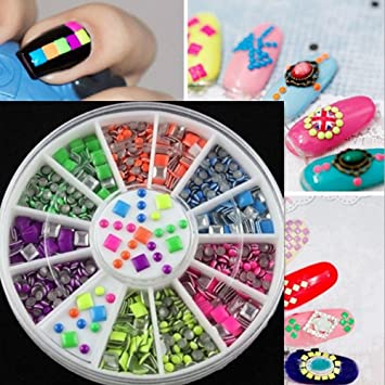 Amazon Smoothph 6 Neon Color Nail Art Tips Metal Rivet Manicure